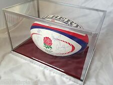 FULL SIZE RUGBY BALL  6 NATIONS - WORLD CUP LAY DOWN GLASS TOP DISPLAY CASE ONLY