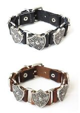 NEW Leather Stud Metal Linked Buckle Bracelet Wristband Vintage Cuff Black Brown