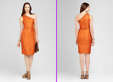 $498 Elie Tahari Terracotta Keaton Cobra jacquard One Shoulder Belted Dress