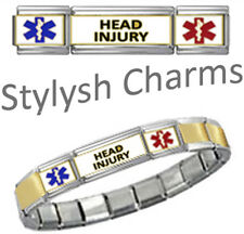HEAD INJURY MEDICAL ID 9mm+ Italian Charm GOLD TONE CNTRE MATTE Starter Bracelet