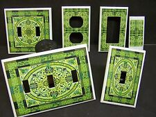 GREEN FLORAL TILE DESIGN #1 LIGHT SWITCH COVER PLATE OR OUTLET