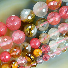 """Faceted Colorful Volcano Cherry Quartz Round Beads 15""""6,8,10,12,14mm Pick Size"""