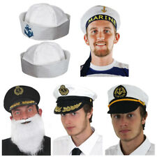 ADULTS SAILOR HATS MARINE FANCY DRESS NAVY MEN'S LADIES DOUGHBOY NAVAL OFFICER