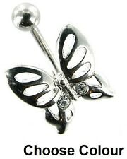 Butterfly Belly Bar - Fixed - with Crystals - Choose: Clear AB Pink Blue Purple