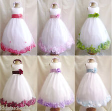 WHITE APPLE GREEN ROSE PETAL WEDDING PARTY FORMAL PAGEANT GOWN FLOWER GIRL DRESS