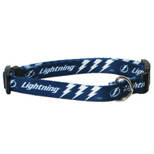 NEW TAMPA BAY LIGHTNING PET SET DOG COLLAR LEASH ID TAG ALL SIZES