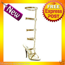 S6 Ladies Gold Cleopatra Goddess Roman Greek Toga Knee High Sandals Shoes Heels