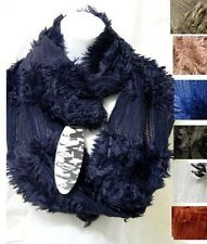 Wide Infinity Tube Fringe Knitted Net Fashion Design Loop Winter Neck Scarf