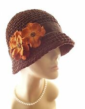 New NWT Vintage Style Handmade Suede Cloche Hat Velvet Flowers Fedora 1920 Brown