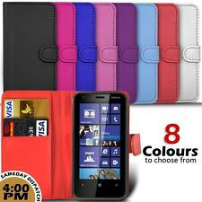 Leather Wallet Skin Case Cover & Screen Protector For Nokia Lumia 620