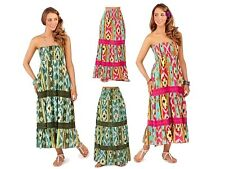 2 IN 1 STRETCH STRAPLESS SUMMER DRESS MAXI FULL LENGTH SKIRT WOMENS LADIES S- XL