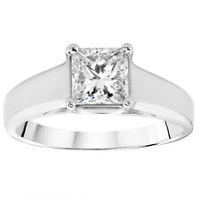.55CT Solitaire Princess Cut Genuine Diamond Engagement Ring 14K White Gold