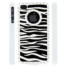 Apple iPhone 4 4S Gem Crystal Rhinestone Zebra Stripe Leather case