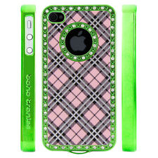 Gem Crystal Rhinestone Pink Silver Black Plaid Case For Apple iPhone 4 4S 4G