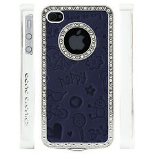 Apple iPhone 4 4S Gem Crystal Rhinestone Dark Blue Cute Leather case