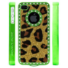 Gem Rhinestone Gold Leopard Print Glitter Plastic Case For Apple iPhone 4 4S 4G