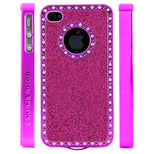Apple iPhone 4 4S Gem Crystal Rhinestone Dark Pink Sparkling Glitter case