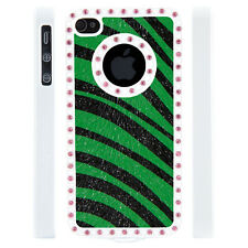 Apple iPhone 4 4S Gem Crystal Rhinestone Green Black Zebra Leather case