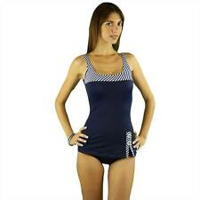 Women's One Piece Retro Modest Swimsuit Control Fit Molded Cups Fully Lined