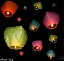 10 X white/red Heart Shape Wish Lanterns Chinese Paper Sky Wedding Flying Party