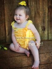 Baby Girls Yellow Lace Petti Romper Straps Bow NB-3T RS1