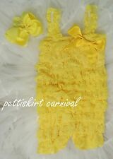 Newborn Baby Girls Yellow Lace Petti Posh Rompers Straps Cute Bow Headband 2pc