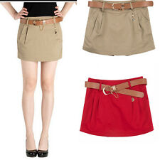Womens OL Career Low-Waisted Mini Pleated Skirt Slim Shorts Pants W/Belt Casual