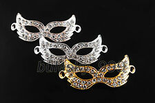 10 Crystal Rhinestones Curved Charms Mask Bracelet Finding Connectors Links 50mm