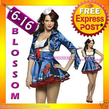 J59 Navy Sailor Girl Uniform Ladies Rockabilly Pin Up Fancy Dress Costume & Hat