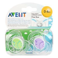 2 pack AVENT PHILIPS ORTHODONTIC SOOTHERS FREE FLOW DUMMIES DUMMY PACIFIER BABY