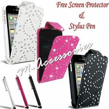 DIAMOND BLING DIAMANTE FLIP PU LEATHER CASE COVER POUCH FOR MAJOR MOBILE PHONES