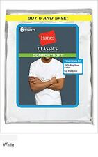6 Hanes Mens Classics Cotton ComfortSoft White Crew Neck T-Shirts 7870W6