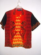 NEW youth boys DRAGONS & TOWER OF FIRE HAWAIIAN SHIRT  size L fitsboys 12 to 16