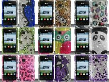 For LG 840G Straight Talk Tracfone Net 10 Full Diamond Bling Hard Cover Case NEW