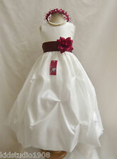 Ivory Burgundy Wine Berry Baby Toddler Teen Pageant PartyGown Flower Girl Dress