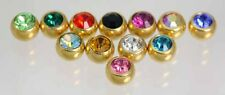 24ct Gold Plated        Spare Threaded Crystal Gems   1.6MM (14G) X 6MM