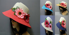 Flowers Bucket Hat Straw Summer Beach Church Elegant Cute Braided Design Chic