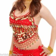 Coloured Bead Chiffon Belly Dance Top Costume Bra Cups Small to Plus Size NEW UK