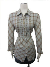 Odille Anthropologie Sage Colorful Ruffled Front Collar Plaid Tunic Top SZ 0 10
