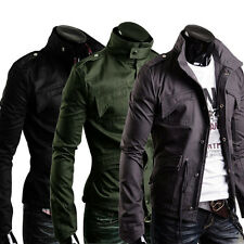 Military Style Men's Slim Fit Stand Collar Jacket Coat Zip Button Hoody Overcoat
