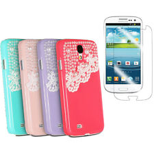 New Cute Pearl Lace Bling Hard Case Cover for Samsung Galaxy S 4 IV i9500 2in1