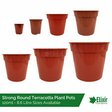 "Plant Pots | Strong Glossy Terracotta Plastic 2"", 3.5"", 5"", 6"", 7"", 8"", 9"" & 10"""