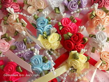 RIBBON BOWS And Rose Clusters With Bead Trim 20 In A Pack Favours, cardmaking