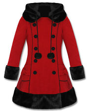 Hell Bunny Sarah Jane Red Black Fur Trim Hooded Fully Lined Winter Jacket Coat