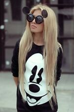 OVERSIZED MICKEY MOUSE FLIP UP ROUND OVAL FASHION DESIGNER WOMEN SEXY SUNGLASSES