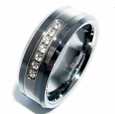 Tungsten Carbide All Size Mens Prong Setting CZ Zirconia Wedding Band Ring M16