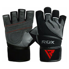 RDX Gel Weight Lifting Body Building Gloves Gym Straps Training Leather Training