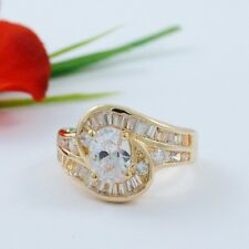 2 CARAT OVAL CZ GOLD EP CUBIC ZIRCONIA SWIRL COCKTAIL RING SIZE 5 6 7 8 9