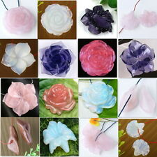 Carved Flower Natural Stone Rose Quartz Amethyst Opal Gemstone Bead Pendant