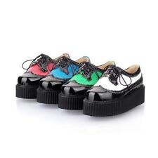 4 Color New Woman's Lace Up Punk Goth High Platform Flat Creeper Shoes sy17